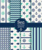 pic of beach shell art  - Set of sea and nautical seamless patterns in white turquoise and dark blue colors - JPG
