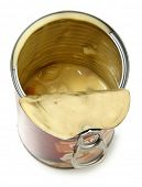 Half Empty Open Can of Potato Dumpling Soup Isolated High Angle View