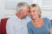 Relaxed smiling mature couple sitting on couch at home