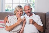 Portrait of a smiling mature couple with coffee cups in the living room at home