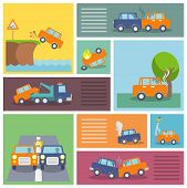 stock photo of flood-lights  - Colored decorative driving safety car security and auto crash protection  icons set isolated vector illustration - JPG