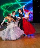 MOSCOW - MARCH 16: Unidentified children age 14-18 compete in waltz dance on the Artistic Dance Euro