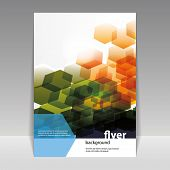 stock photo of hexagon pattern  - Flyer or Cover Design with Abstract Hexagon Pattern - JPG