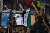 KIEV, UKRAINE - APR 7, 2014: Flags of countries, that support Putsch of Junta in Kiev Camp  of riote