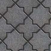 image of octagon shape  - Concrete Gray Pavement in the form of quatrefoils and octagonal stars - JPG