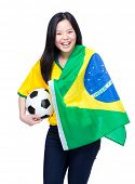 Asian female football supporter