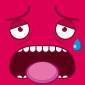 stock photo of transpiration  - A Vector Cute Cartoon Pink Tired Face - JPG
