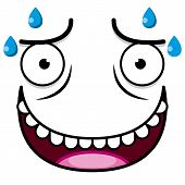 stock photo of transpiration  - A Vector Cute Cartoon White Sweaty Face - JPG