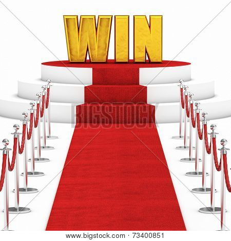 red carpet and rope barrier with golden win text
