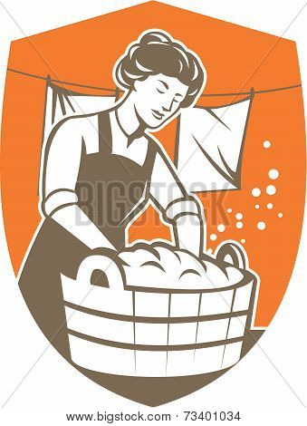 Housewife Washing Laundry Vintage Retro