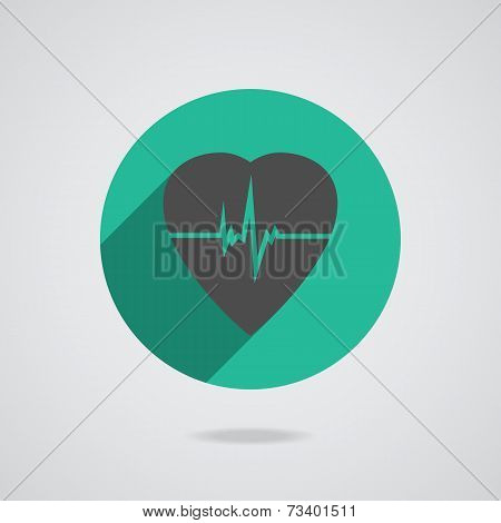 Defibrillator Red Heart Icon Isolated On Yellow Background. Vector