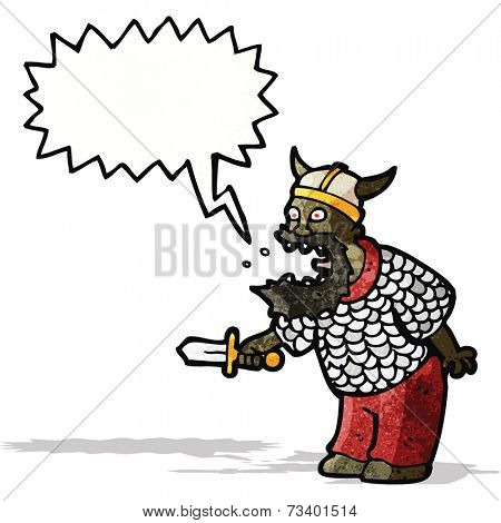 cartoon shouting medieval warrior