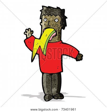 cartoon man spitting lighting