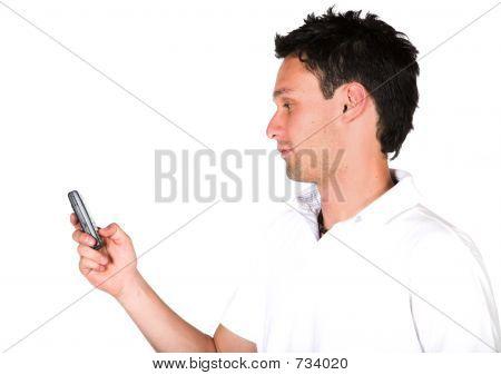 Casual Guy Sending An Sms