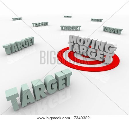 Moving Target 3d Words on a bullseye as an elusive location that keeps changing and you must find