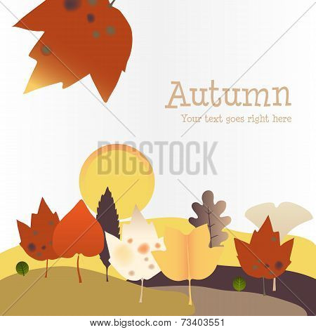 Autumn background with Harvest Moon