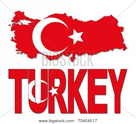 Turkey map flag and text vector illustration