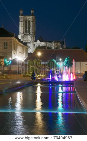 Fountains and towers of gothic Cathedral