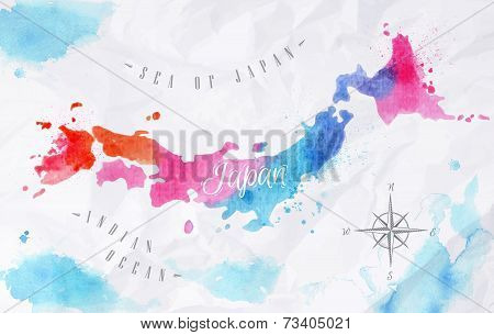 Watercolor map Japan pink blue