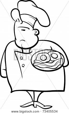 English Chef Cartoon Coloring Page