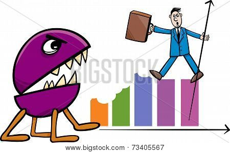 Recession In Business Cartoon Illustration