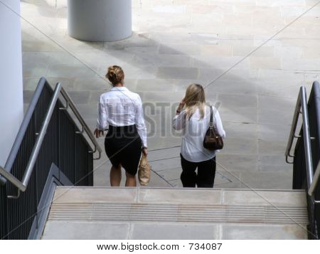 women on stairs