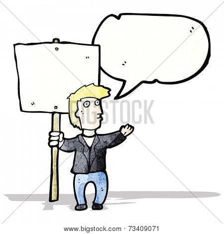 cartoon chanting protester with sign
