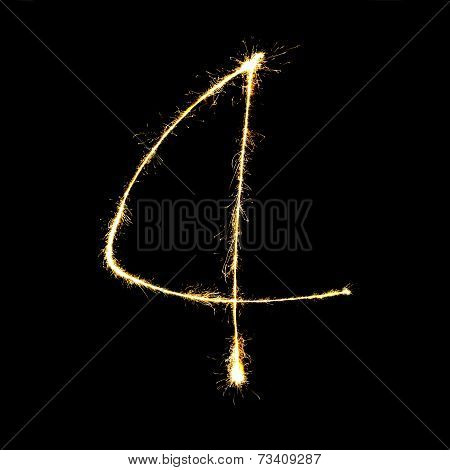 Burning Sparkler Stick And Writing Sparkling Text . Number Four