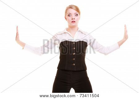 Businesswoman Pushing Away Blank Copy Space