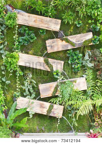 Waterfall With Wooden Box, Gardening Design.