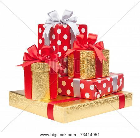 Red, striped and gold boxes with gifts tied bows on white