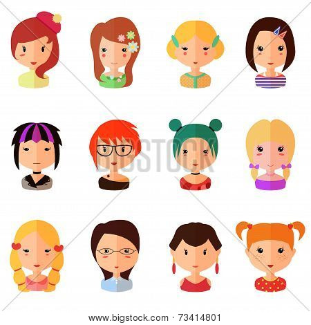 Vector set of cartoon avatar flat girls icons
