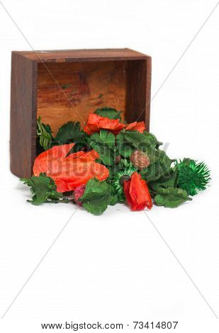 Aromatherapy Dry Flowers With Wooden Box Isolated On White Background.