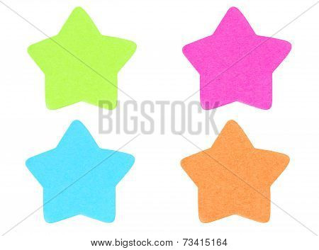 Green Star Shape Sticky Note Isolated On White Background.