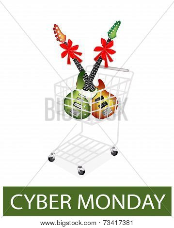 Electric Guitar With Red Ribbon In Cyber Monday Shopping Cart