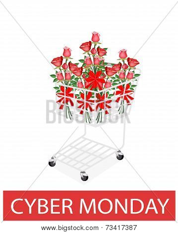 Rose Bouquets With Ribbon In Cyber Monday Shopping Cart