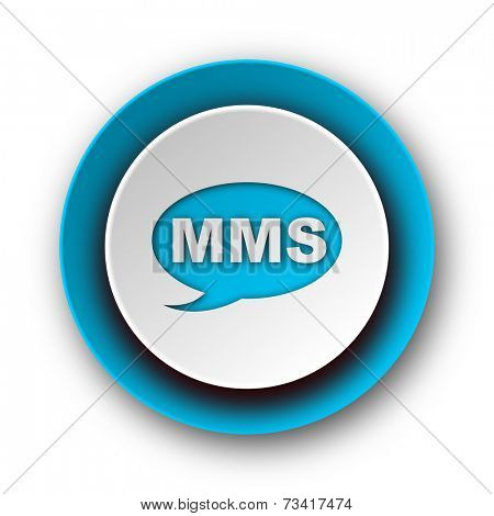 mms blue modern web icon on white background