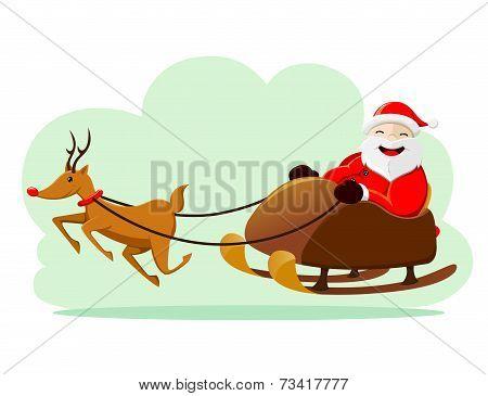 Santa Claus Ridding Snow Sleigh