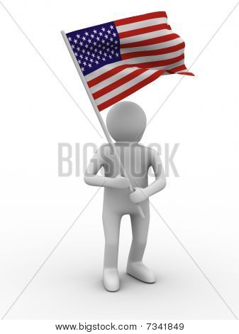 Man Waves Flag On White Background. Isolated 3D Image