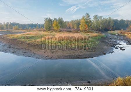 Autumn Morning On Shrinking River