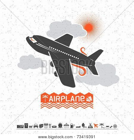 Airplane In The Clouds And Travel Icons