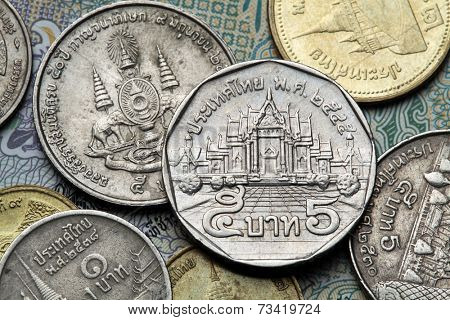 Coins of Thailand. Wat Benchamabophit or the Marble Temple in Bangkok, Thailand, depicted in the Thai five baht coin.