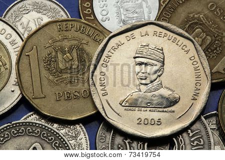 Coins of the Dominican Republic. Dominican national hero Gregorio Luperon depicted in the Dominican 25 peso coin.