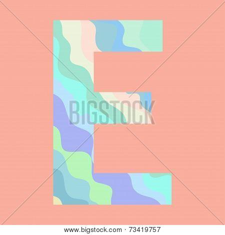 The letter E. Element of alphabet