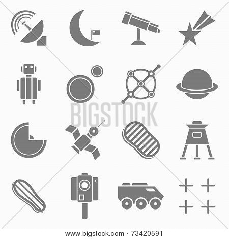 Icons Space In Flat Style Gray On White