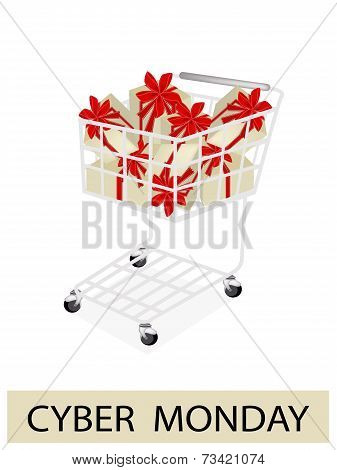 A Shopping Cart on Cyber Monday Label