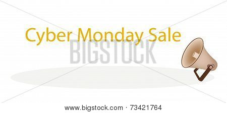 Megaphone Shouting Word Cyber Monday Sale on White Background