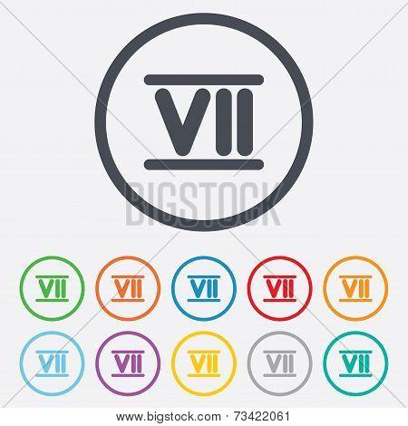 Roman numeral seven icon. Roman number seven sign.