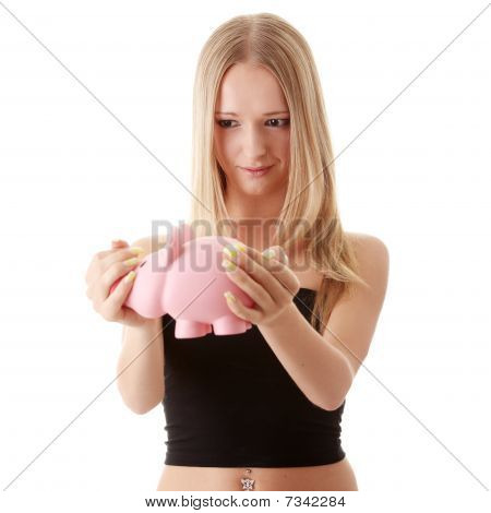Woman Holding Piggy-bank