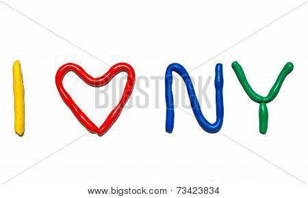 Text I LOVE NY from plasticine